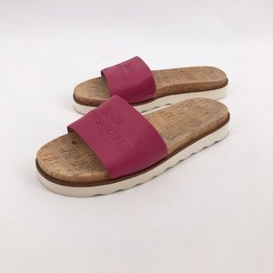 COACH Spruce Pink Cork Slip On Lug Sole Sandal